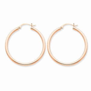14K Rose Gold 35mm x 2.5mm Classic Round Hoop Earrings