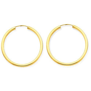 14K Yellow Gold 25mm x 2mm Round Endless Hoop Earrings
