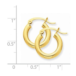 14K Yellow Gold 15mm x 3mm Classic Round Hoop Earrings