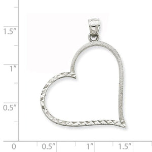 14k White Gold Heart Pendant Charm