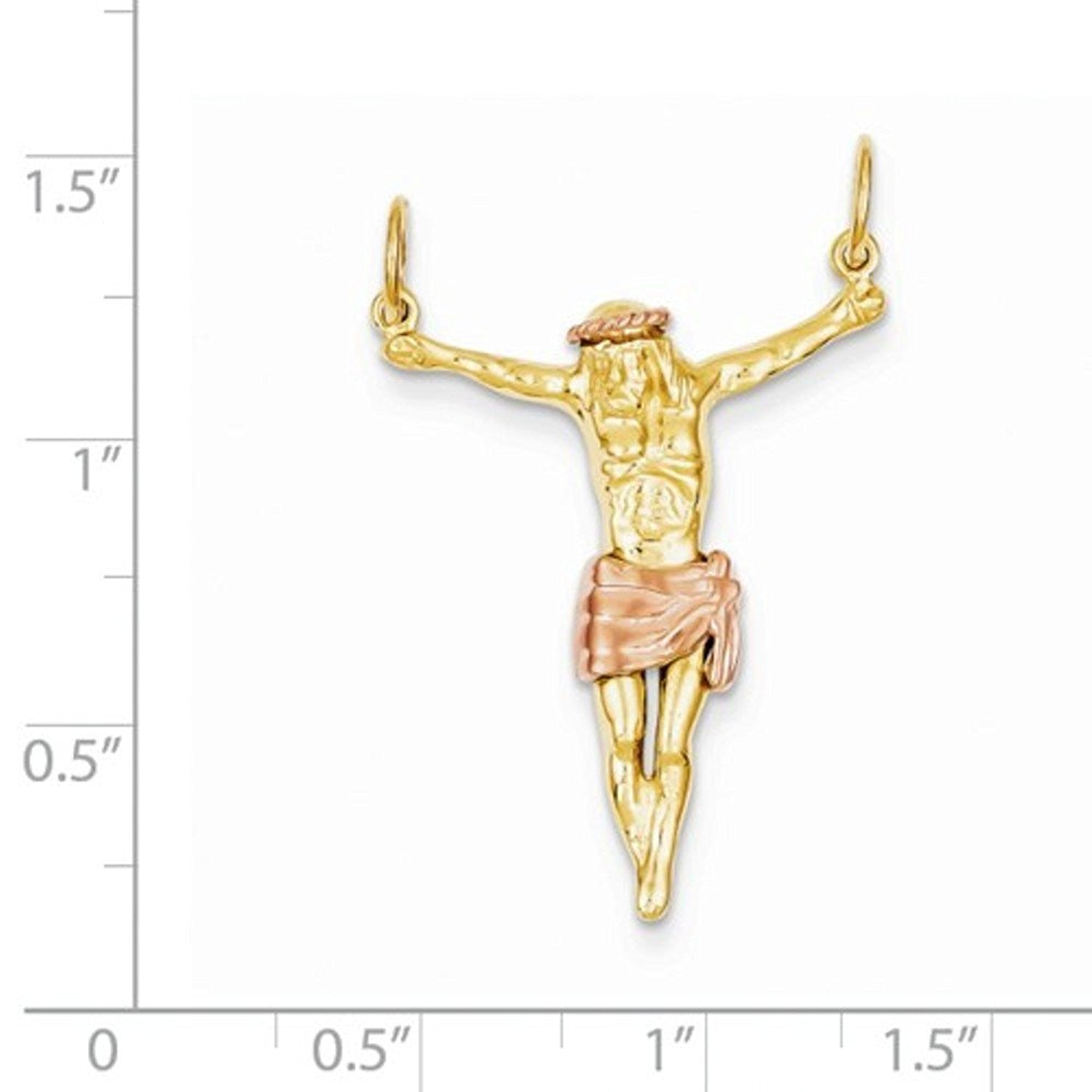 14k Gold Two Tone Corpus Crucified Christ Pendant Charm