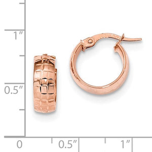 14K Rose Gold 14mmx13mmx5mm Patterned Round Hoop Earrings