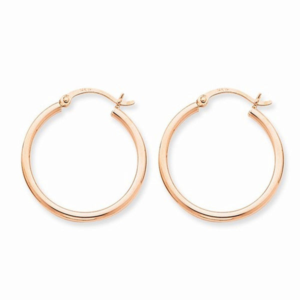 14K Rose Gold 25mm x 2mm Classic Round Hoop Earrings