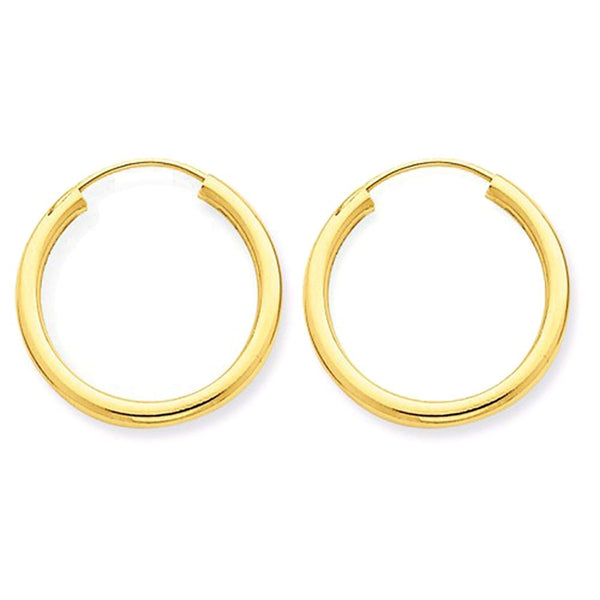 14K Yellow Gold 16mm x 2mm Round Endless Hoop Earrings