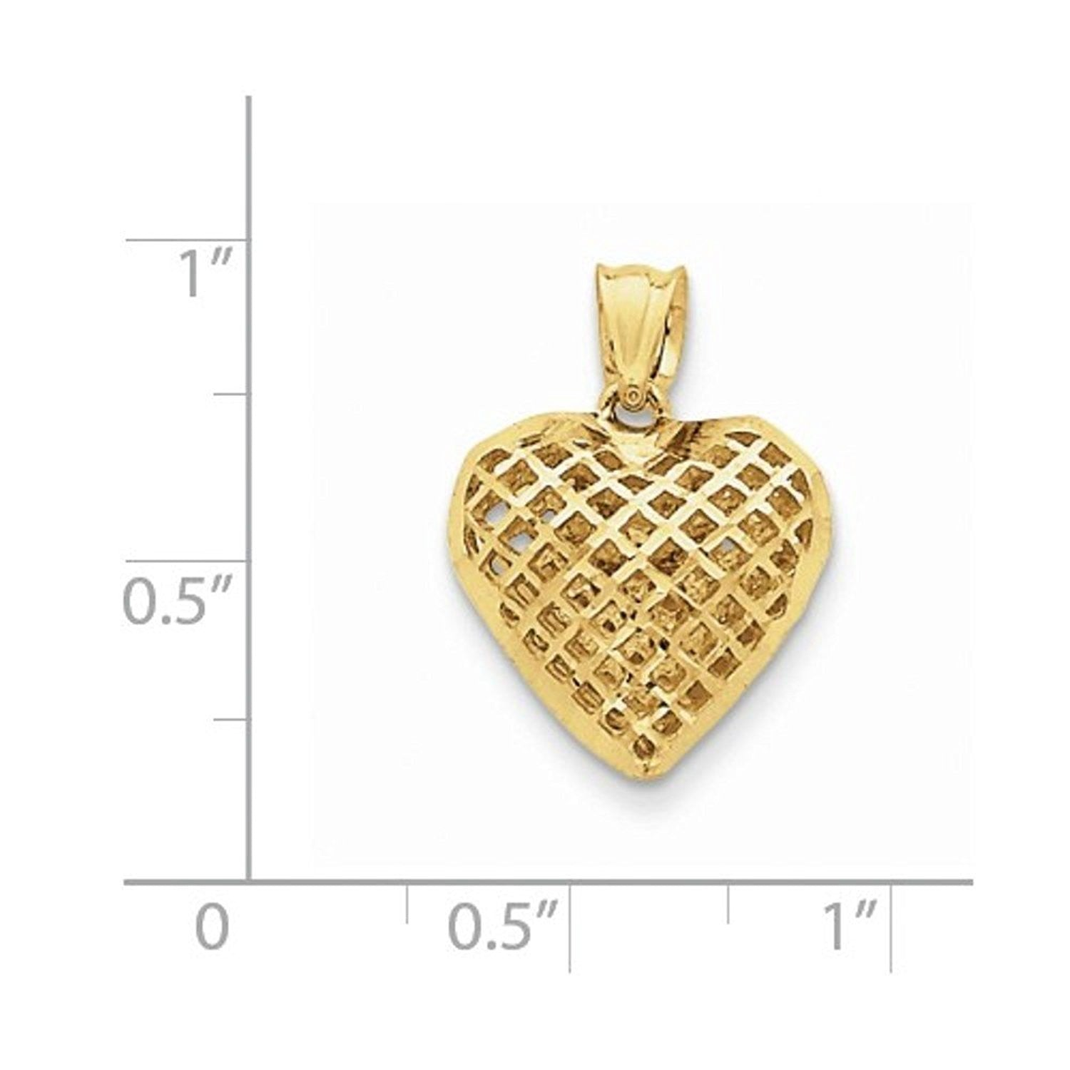 14k Yellow Gold Puffy Heart Cage Hollow Pendant Charm