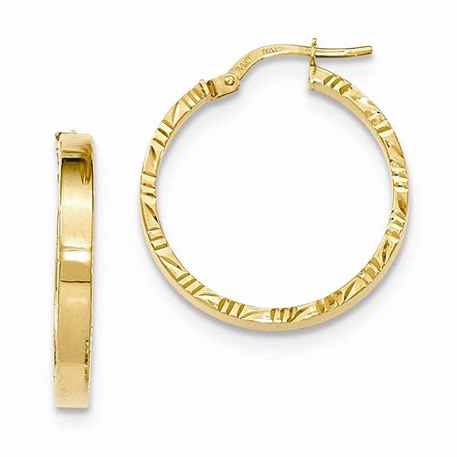 14K Yellow Gold 25mm x 3mm Textured Edge Hoop Earrings
