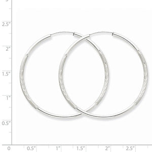 14K White Gold 42mm Satin Textured Round Endless Hoop Earrings