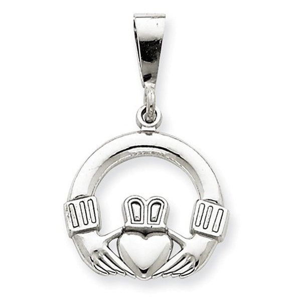 14k White Gold Claddagh Pendant Charm
