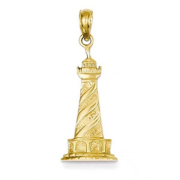14k Yellow Gold Lighthouse Open Back Pendant Charm