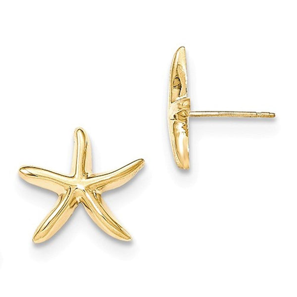 14k Yellow Gold Starfish Stud Post Push Back Earrings