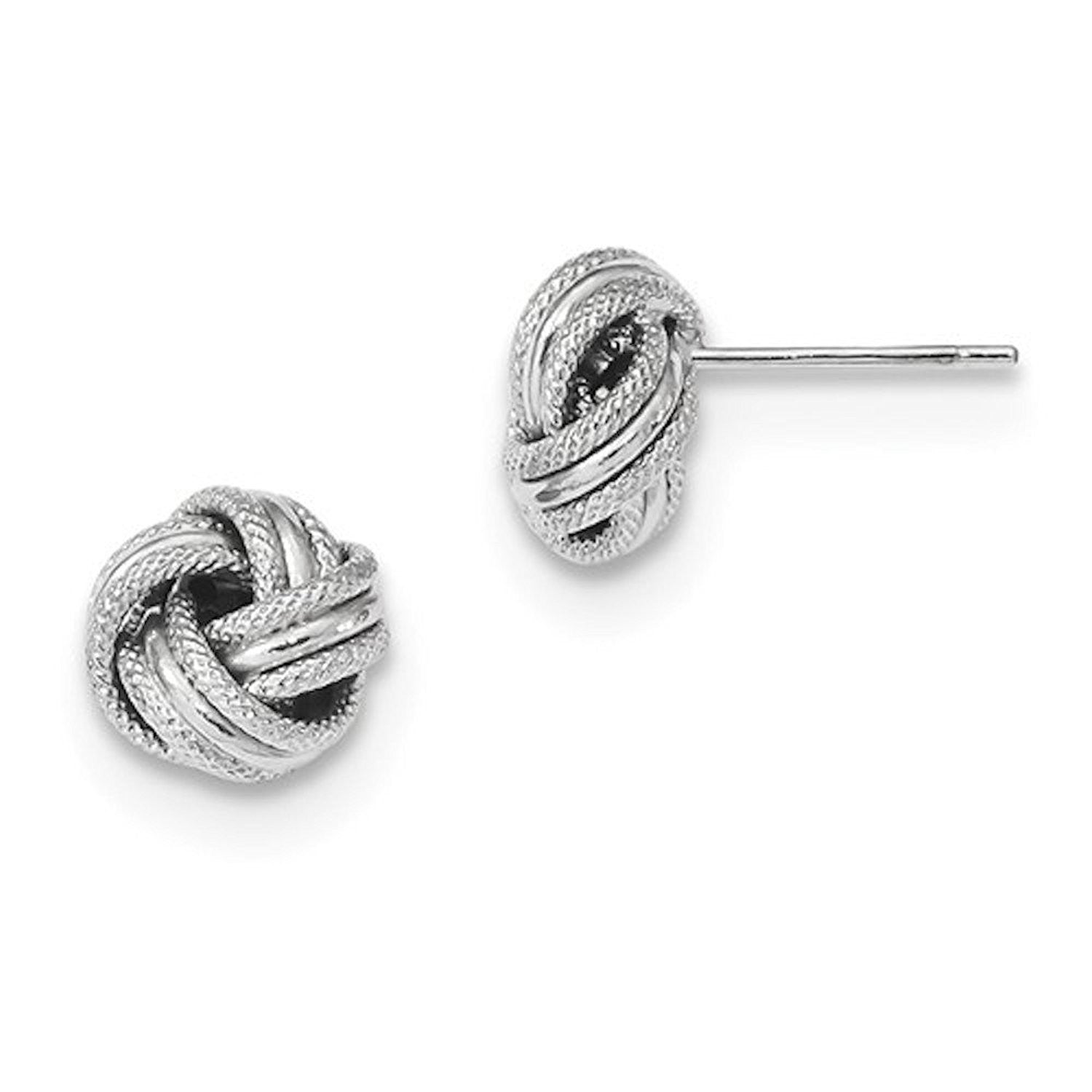 14k White Gold 8mm Classic Love Knot Stud Post Earrings