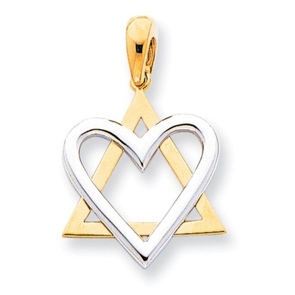 14k Gold Two Tone Star of David Heart Pendant Charm