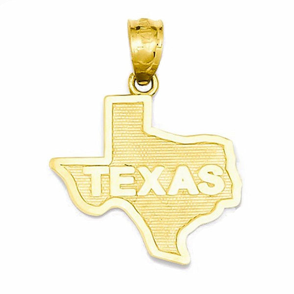 14k Yellow Gold Small Texas State Map Pendant Charm
