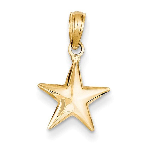 14k Yellow Gold Star Celestial 3D Small Pendant Charm