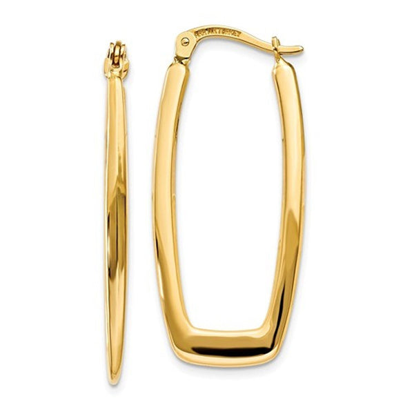 14k Yellow Gold Modern Contemporary Rectangle Hoop Earrings