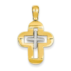 14k Gold Two Tone Latin Cross Pendant Charm