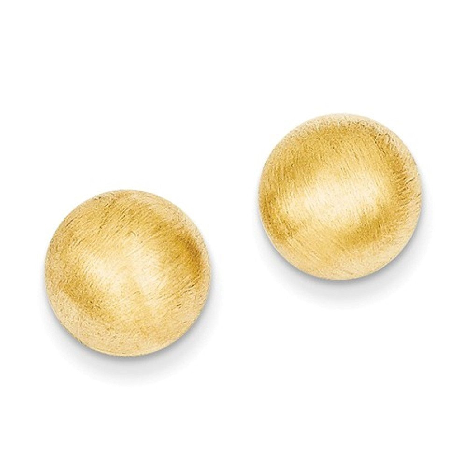 14k Yellow Gold 10.50mm Satin Half Ball Button Post Earrings