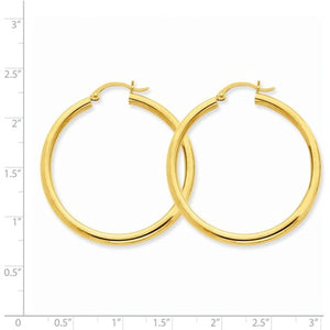 14K Yellow Gold 40mm x 3mm Classic Round Hoop Earrings