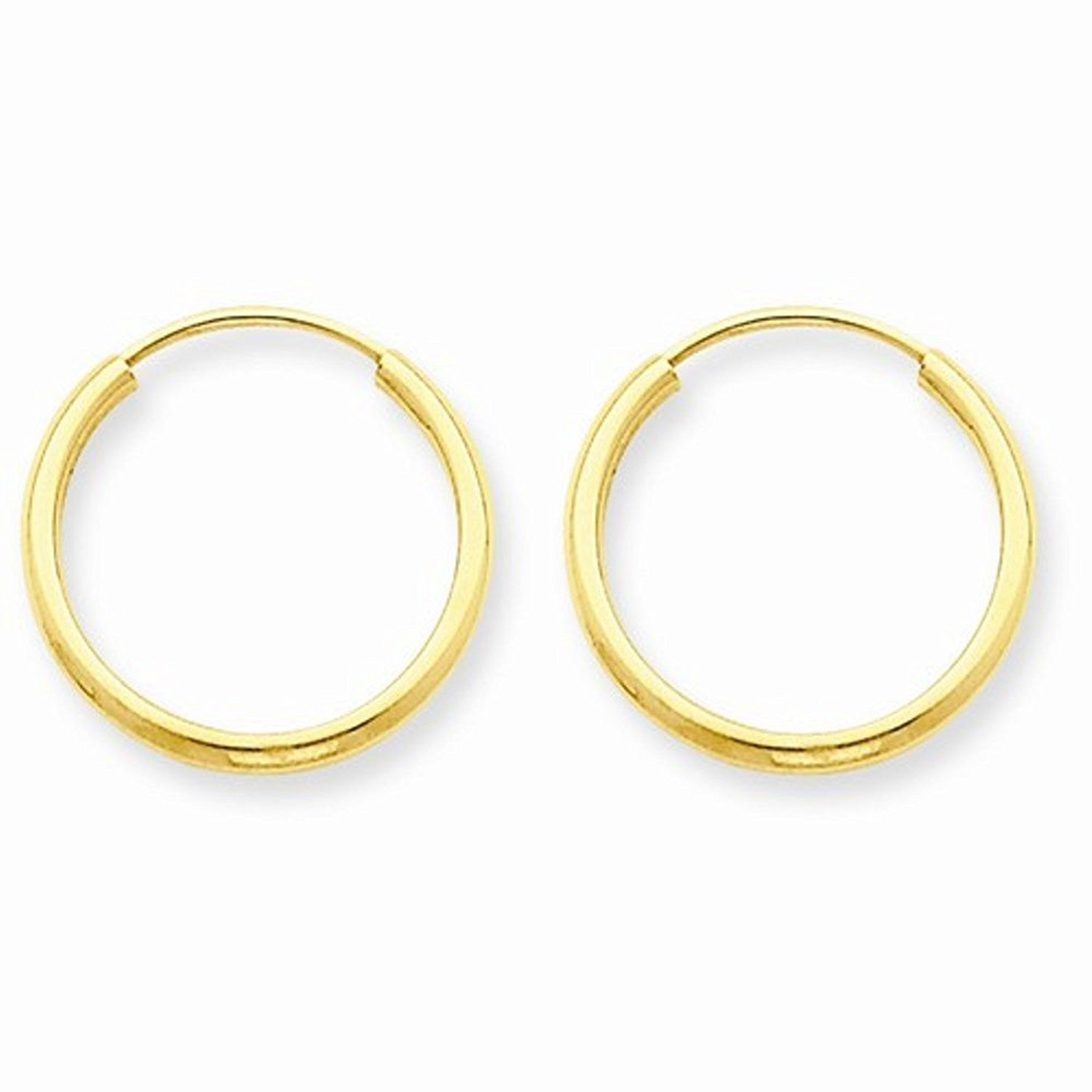 14K Yellow Gold 14mm x 1.5mm Endless Round Hoop Earrings
