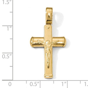 14k Yellow Gold Cross Crucifix Pendant Charm