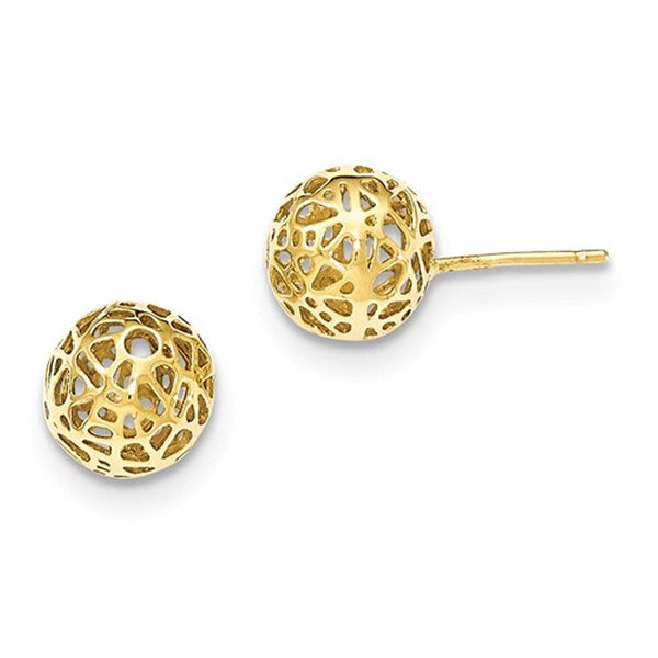 14k Yellow Gold Cut Out Cage Ball Post Earrings