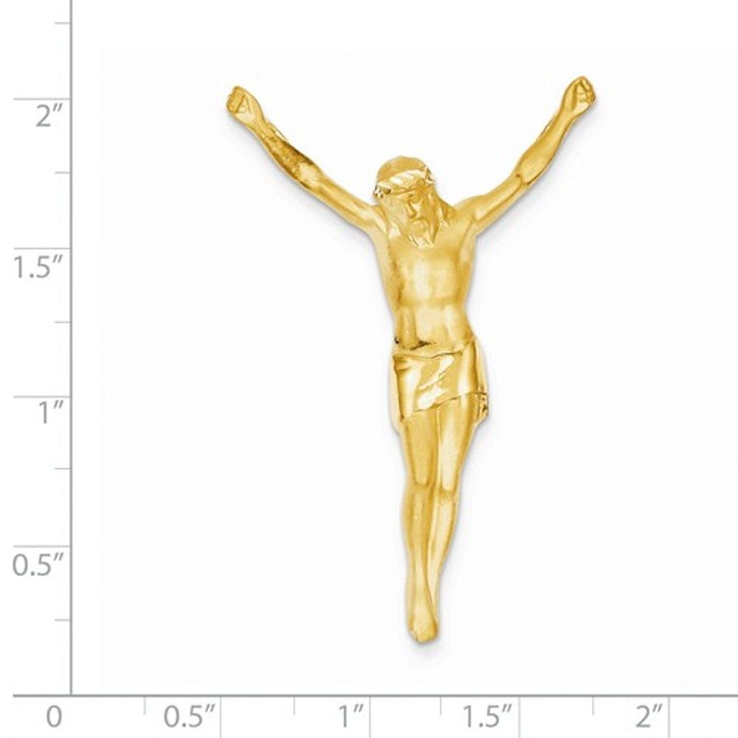 14k Yellow Gold Corpus Jesus Christ Chain Slide Pendant Charm