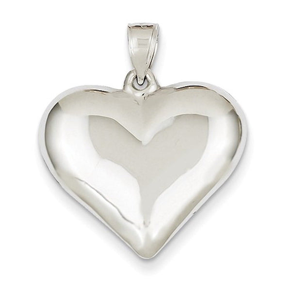 14k White Gold Puffy Heart 3D Hollow Pendant Charm