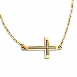 14k Yellow Gold Sideways Cut Out Cross Necklace 19 Inches