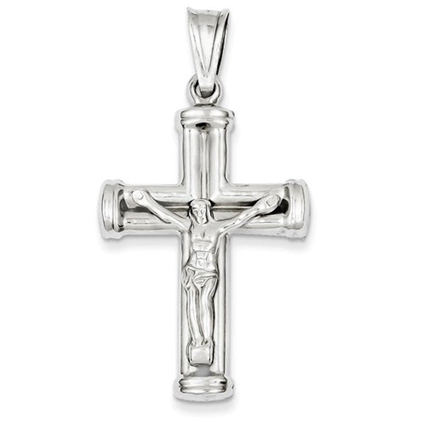 14k White Gold Crucifix Cross Hollow Pendant Charm
