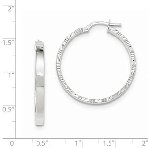 14K White Gold 30mm x 3mm Textured Edge Hoop Earrings
