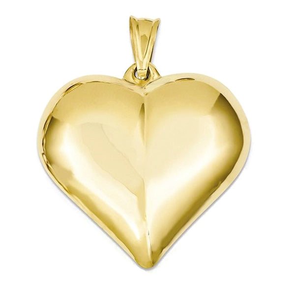 14k Yellow Gold Large Puffed Heart Hollow 3D Pendant Charm