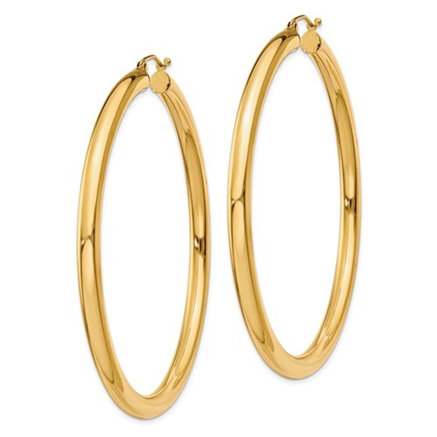14K Yellow Gold Large Classic Round Hoop Earrings 60mmx4mm