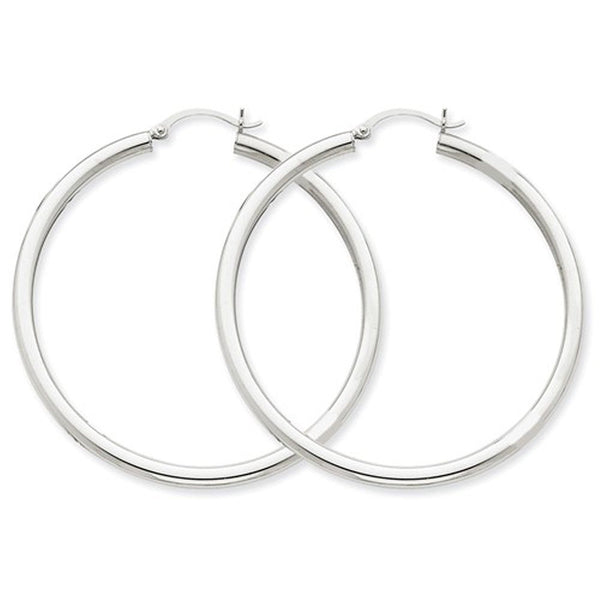 14K White Gold 50mm x 3mm Classic Round Hoop Earrings