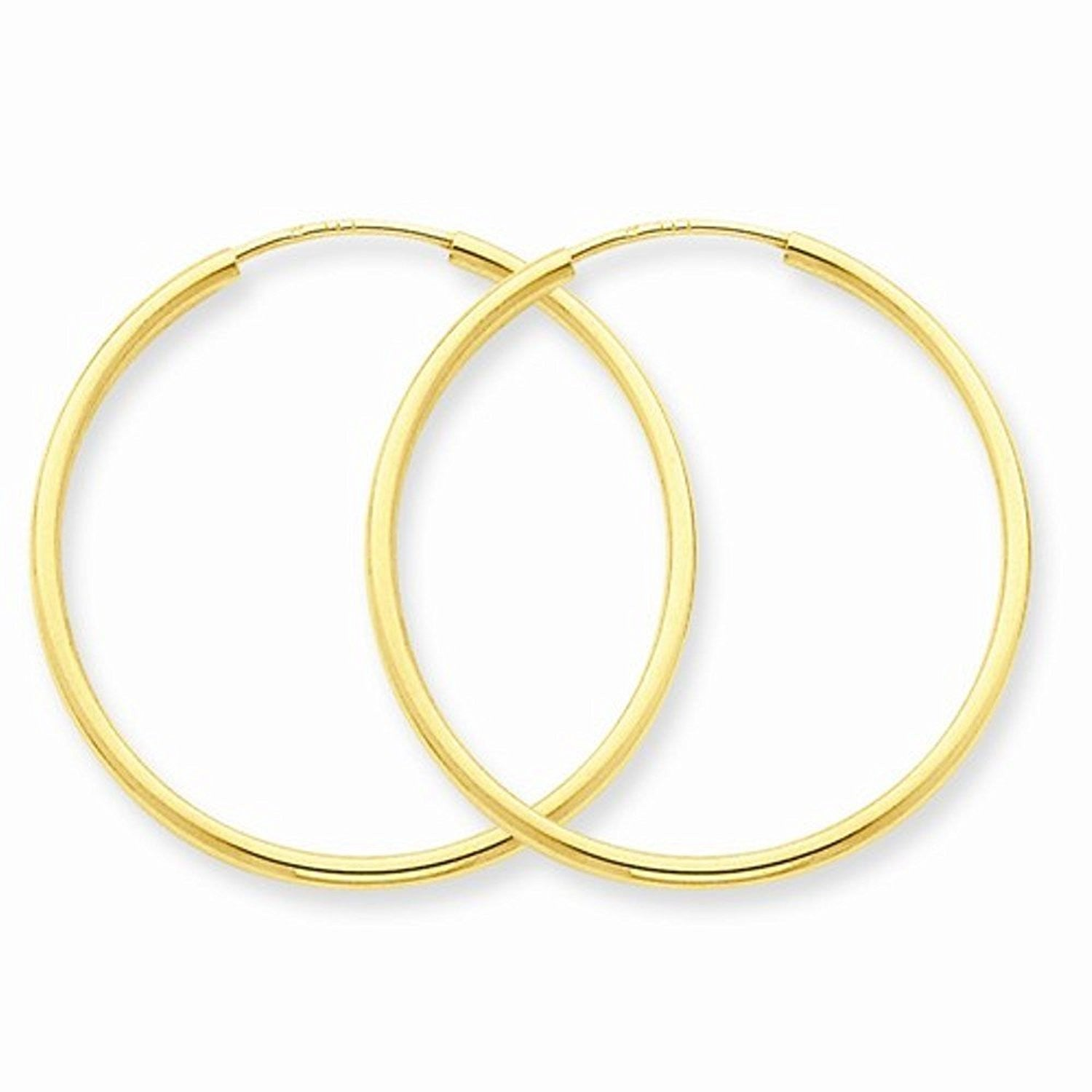 14K Yellow Gold 26mm x 1.5mm Endless Round Hoop Earrings