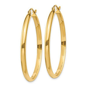 14K Yellow Gold 35mmx2.75mm Classic Round Hoop Earrings