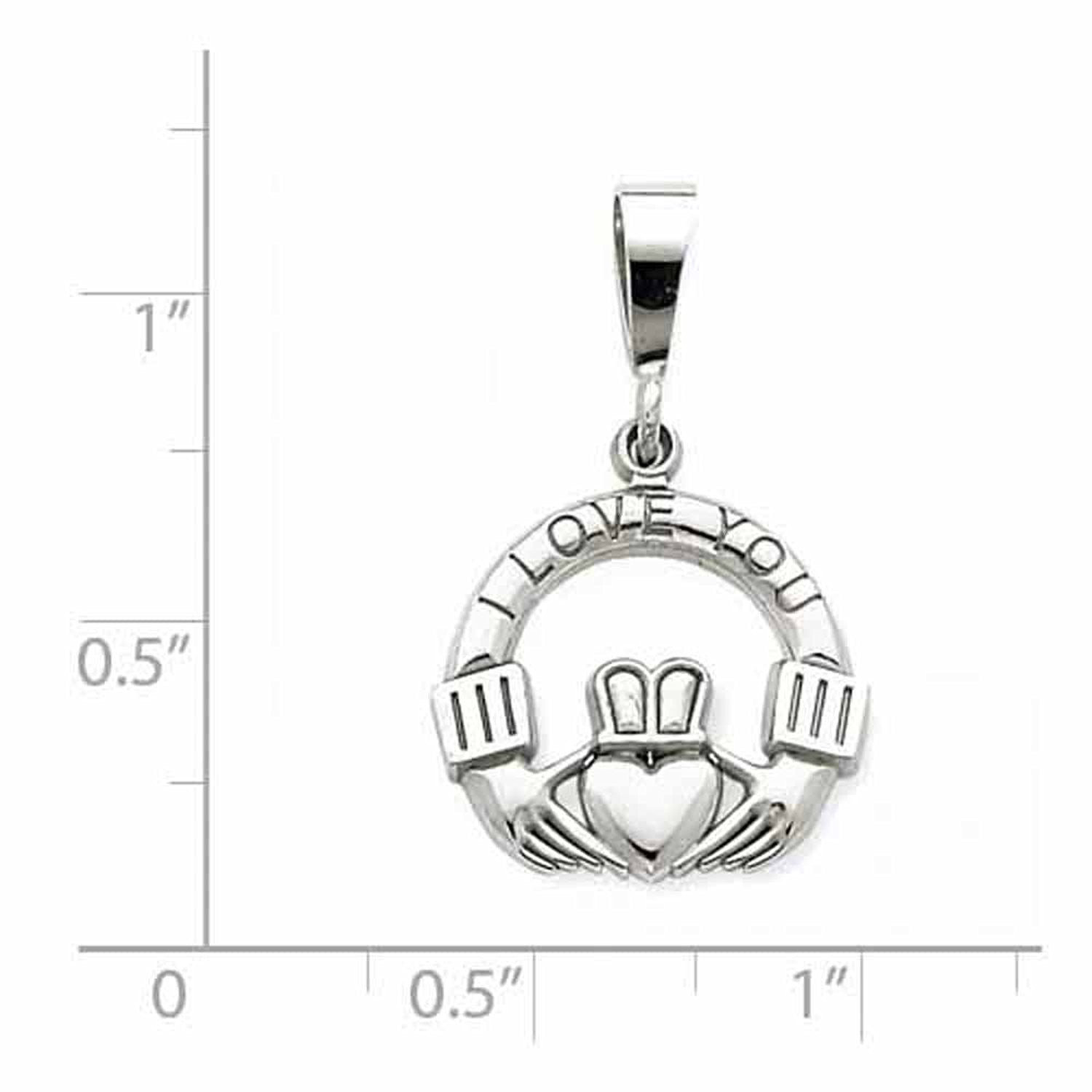 14k White Gold Claddagh I Love You Pendant Charm
