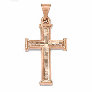 14k Rose Gold Brushed Polished Latin Cross Pendant Charm
