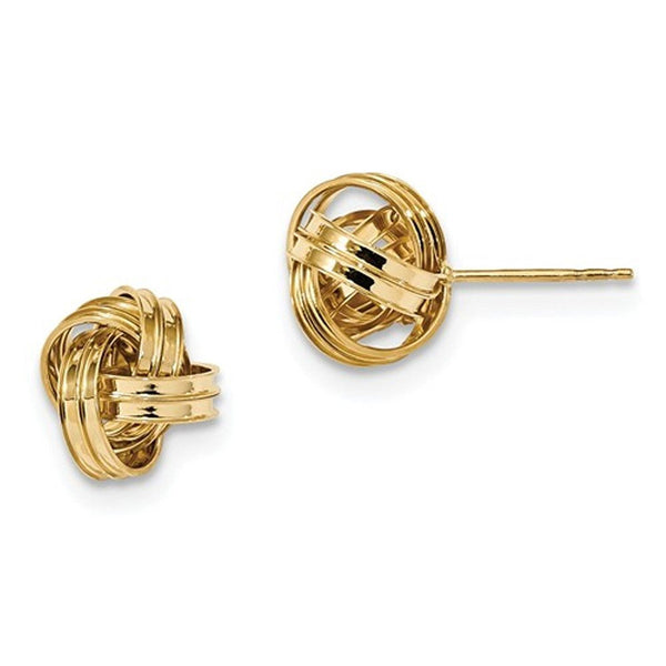14k Yellow Gold Classic Polished Love Knot Stud Post Earrings