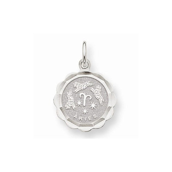 14k White Gold Aries Zodiac Horoscope Pendant Charm