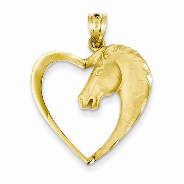 14k Yellow Gold Horse Pony Heart Open Back Pendant Charm