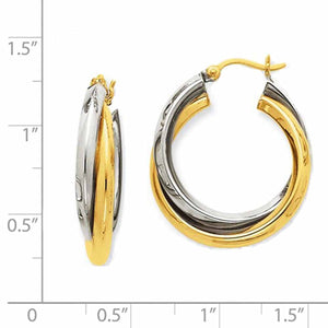 14K Gold Two Tone 24mmx23mmx6mm Modern Contemporary Double Hoop Earrings