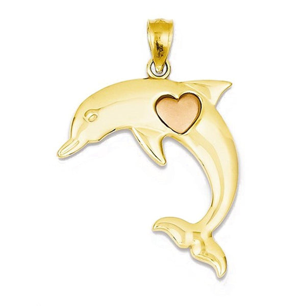 14k Gold Two Tone Dolphin Heart Open Back Pendant Charm