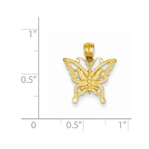 14k Yellow Gold Butterfly Small Pendant Charm