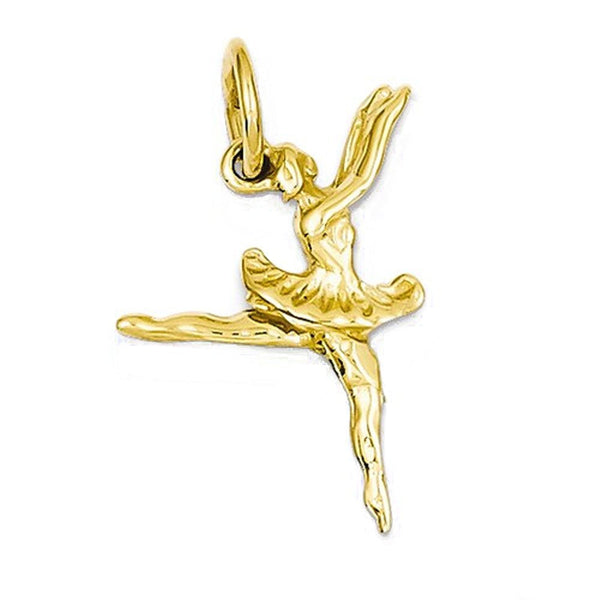 14k Yellow Gold Ballerina Ballet Dancer 3D Small Pendant Charm