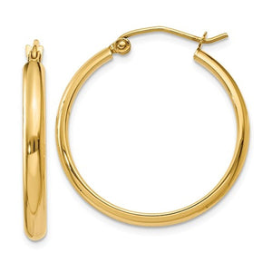 14K Yellow Gold 25mmx2.75mm Classic Round Hoop Earrings