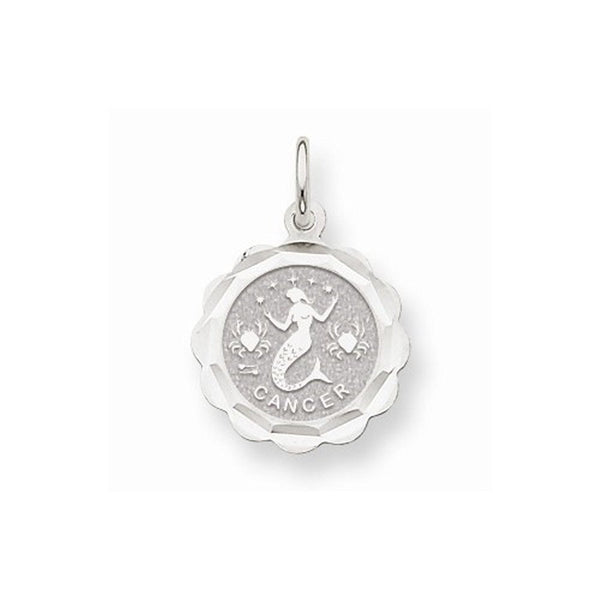 14k White Gold Cancer Zodiac Horoscope Pendant Charm