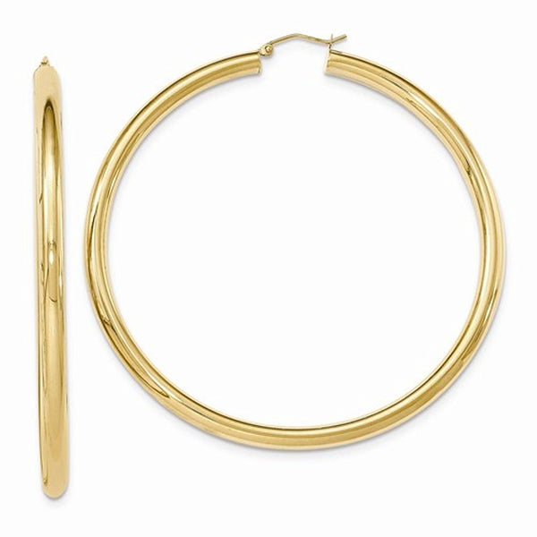 14K Yellow Gold 70mm x 4mm Classic Round Hoop Earrings