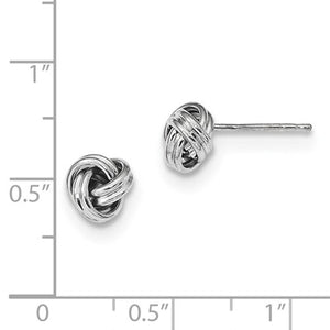 14k White Gold Classic Polished Love Knot Stud Post Earrings