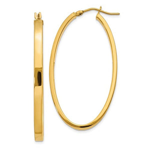 14k Yellow Gold Classic Large Oval Hoop Earrings