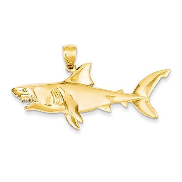 14k Yellow Gold Large Shark 3D Pendant Charm